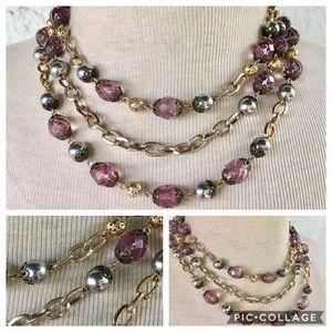 Purple gold silver multi strand necklace